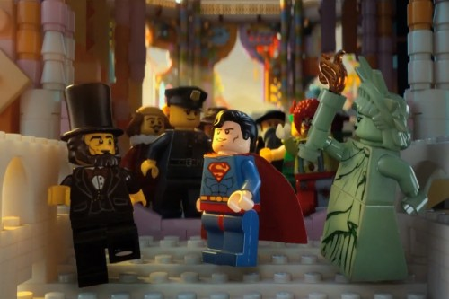 FILM REVIEW: The Lego Movie - Superman, Abraham Lincoln and Statue of Liberty.
