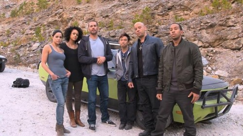 Paul Walker with cast members on the set of Fast and Furious 7! - TOMORROW'S NEWS - The Latest Entertainment News Today!