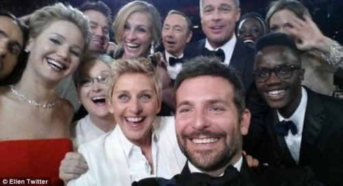 OSCAR News: Ellen DeGeneres Most Tweeted Selfie Pic With Oscar Guests - 2014